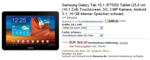 Galaxy tab 101 amazon 600x241 Amazon bietet Samsung Galaxy Tab 10.1 ab 18. August an   Galaxy Tab 8.9 ab 31. August verfügbar
