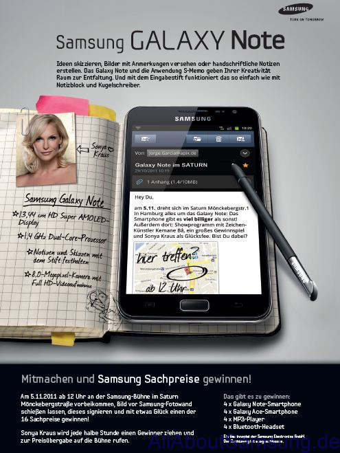 Galaxy Note Flyer Leak Exklusiv: Samsung Galaxy Note am 5. November für 449€ in Hamburg