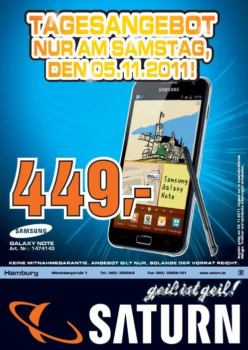 galaxy note flyer vorne Exklusiv: Samsung Galaxy Note am 5. November für 449€ in Hamburg