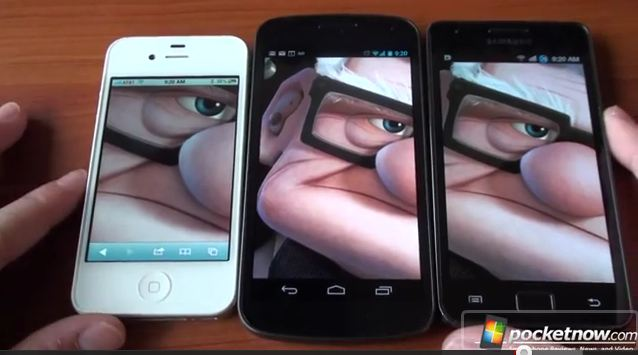 Displayvergleich s2 nexus ip4s [Video] Galaxy Nexus vs Galaxy S2 vs iPhone 4s im Displayvergleich