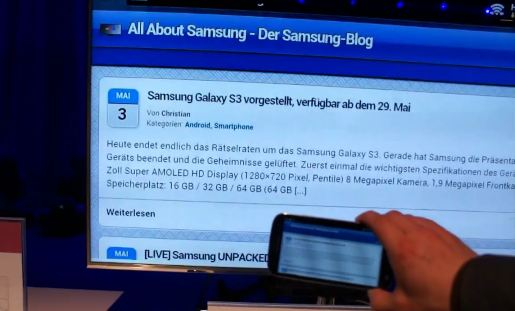 AllShare Cast GalaxyS3 Samsung Galaxy S3 mit AllShare Cast Dongle   Samsungs Airplay Alternative (Video)