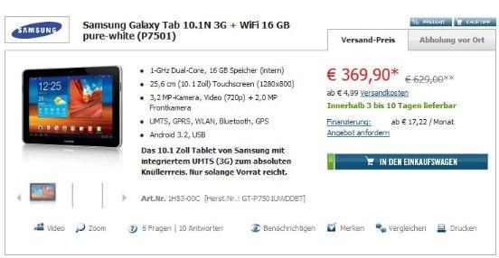 galaxytab101n CP Samsung Galaxy Tab 10.1N 16GB/3G für 369,90€