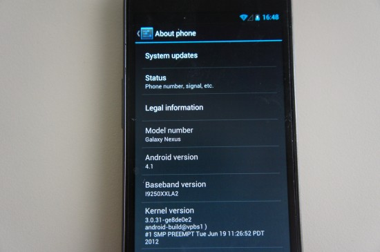 Galaxy Nexus android41 Android 4.1 für das Samsung Galaxy Nexus geleakt (Video)