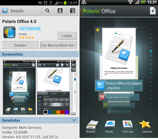 Polaris4 SGS3 Polaris Office 4.0 gratis für das Samsung Galaxy S3