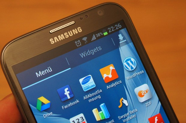 Das Display des Samsung Galaxy Note II