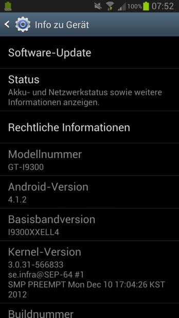 Samsung Galaxy S III Android 4.1.2 für brandingfreie Geräte