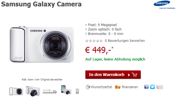 galaxy camera alternate 620x348 Samsung Galaxy Camera für 449€ bei Alternate [Deal]