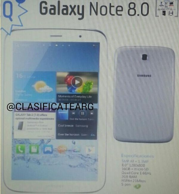 Galaxy Note 8.0 Sieht man hier das Samsung Galaxy Note 8.0 GT N5100?