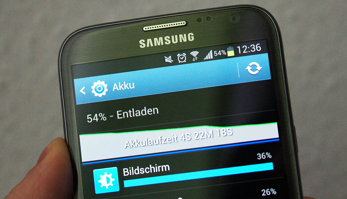 Akkuprobleme seit Android 4.1.2 auf dem Samsung Galaxy Note II