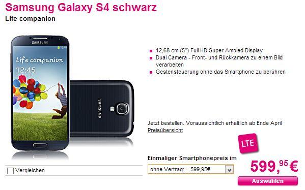Telekom SGS4 günstig black Samsung Galaxy S 4 für 599,95 Euro ohne Vertrag bei der Telekom [Deal]
