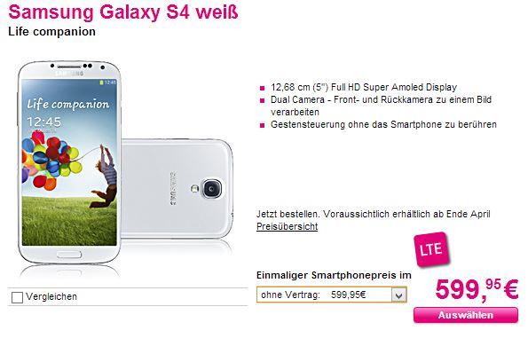 Telekom SGS4 günstig Samsung Galaxy S 4 für 599,95 Euro ohne Vertrag bei der Telekom [Deal]