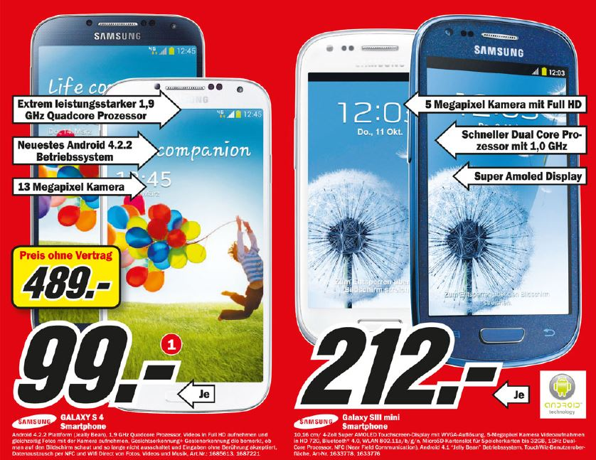 samsung galaxy s4 f r 489 im mediamarkt k ln preise im. Black Bedroom Furniture Sets. Home Design Ideas