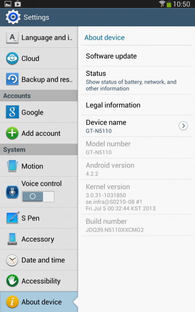 Screenshot 2013 07 14 10 50 07 387x620 Leak: Android 4.2.2 für das Samsung Galaxy Note 8.0 [XXCMG2]