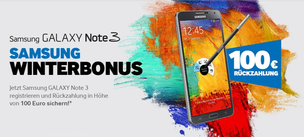 Samsung Winterbonus Galaxynote3 Samsung Galaxy Note 3 für 400 Euro Dank Winterbonus und Black Friday [Deal]