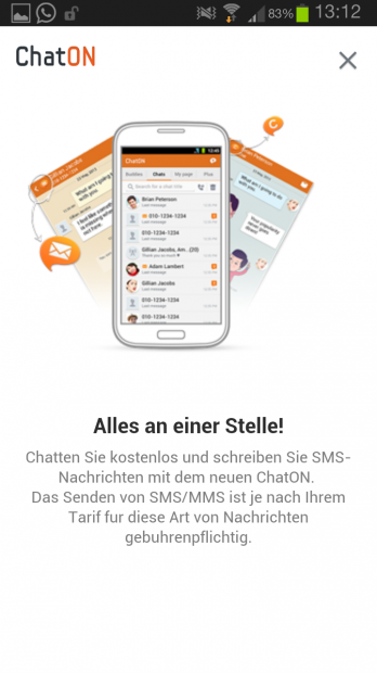 wpid Screenshot 2013 11 26 13 12 42 348x620 Samsung ChatOn für Android erhält SMS/MMS Integration