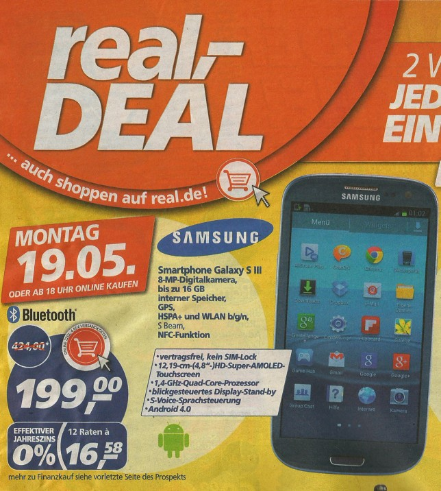 real deal s3 644x716 [DEAL] Galaxy S III für 199 Euro bei Real