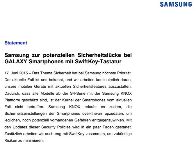 SwiftKey-Sicherhheitsleck-Statement