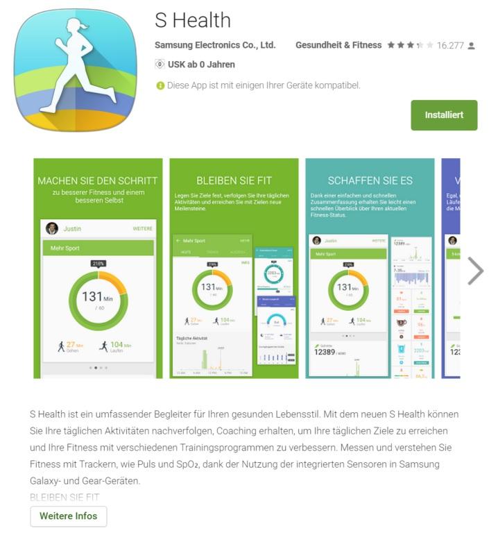 Samsung entwickelt neue S-Health App - verfügbar für fast alle Android Geräte