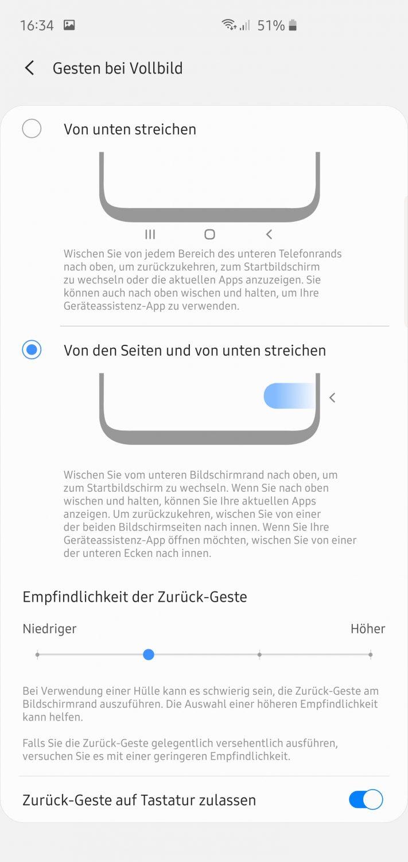 Gestensteuerung Android 10